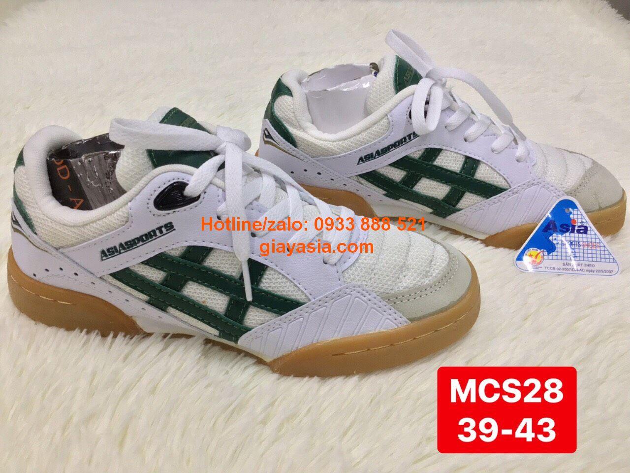 Giày asia cầu lông trắng sọc xanh MCS28