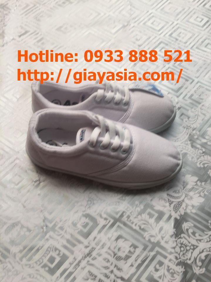 Giày asia vải cột dây trắng