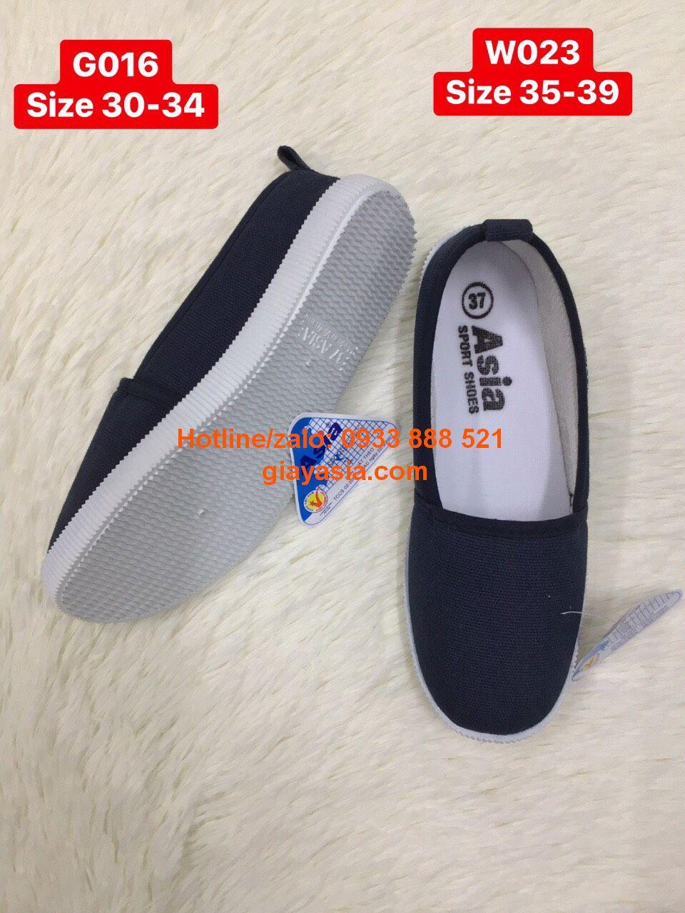 Giày asia xỏ trơn nữ màu xanh