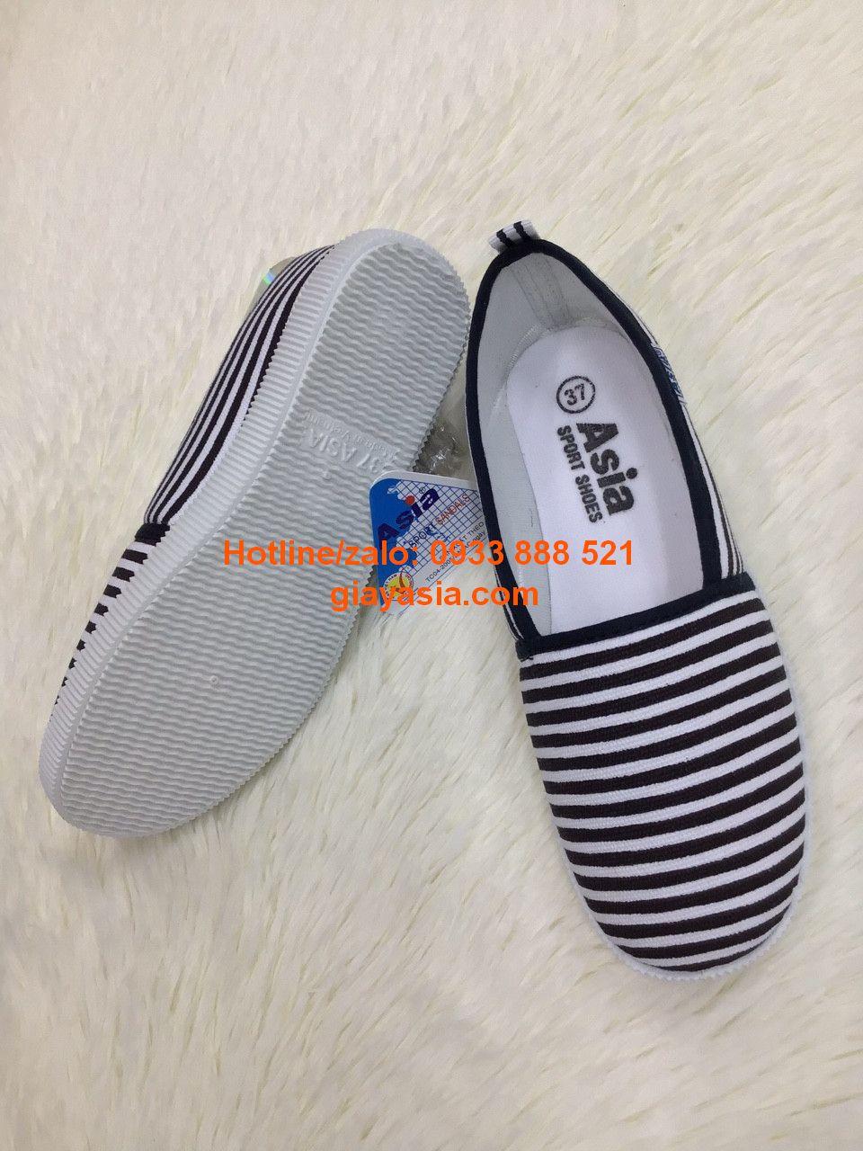 Giày asia xỏ trơn nữ trắng sọc đen