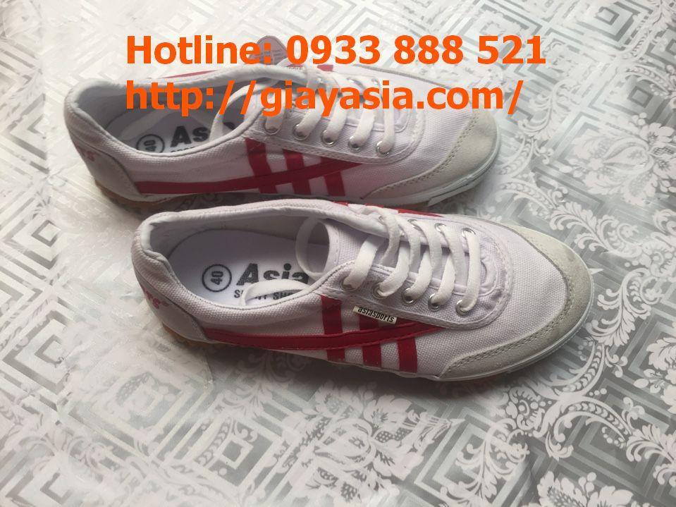Giày bata asia trắng sọc đỏ