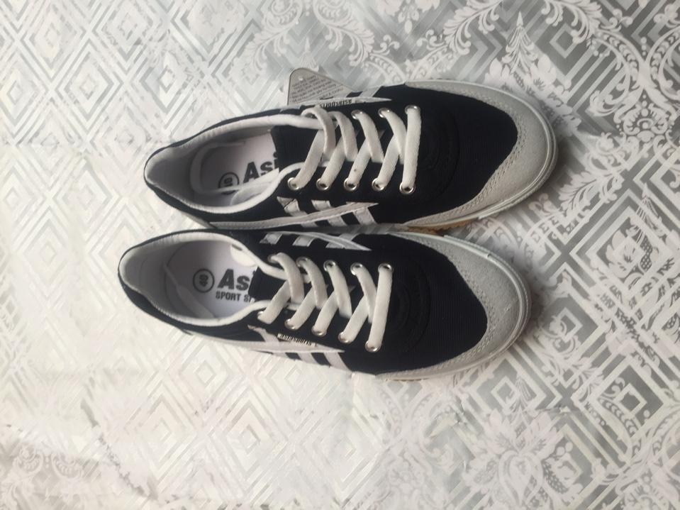 Giày bata asia xanh sọc trắng